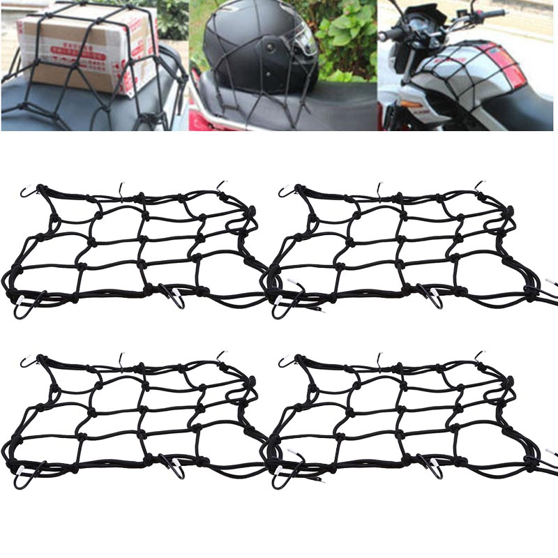 40*40cm Motorcycle Bicycle 6 Hooks Cargo Net Elastic Luggage Rope Fixed Helmet Sundries 4pcs 2017 Motorcycle Luggage Rope Black green motorcycle parts helmet web cargo net mesh fit for honda gb250 clubman h j l p s v 1987 1997