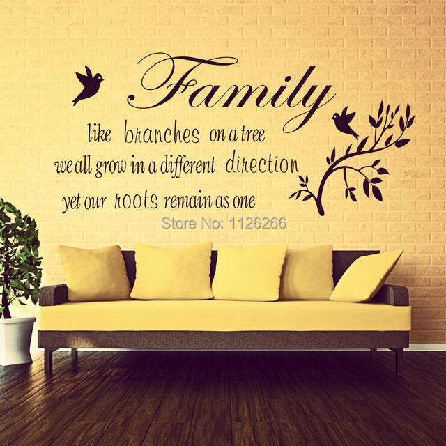Family Wall Stickers Quotes Home Decor Birds on Tree Branch ...
