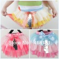 Colorful petti skirts for girls girls tutu skirt  kid ball gown chiffon skirt with bow decoration 3colors 4pcs/lot Free shipping