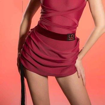 New Latin Dance Skirt Women Adult Stage Rumba Latin Practice Dance Dress Professional Sumba Dancing Skirt Black Red ColorDQS1208