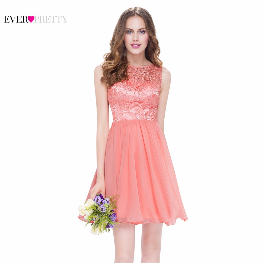 Cocktail Dress Ever-Pretty EP05491PE Peach Elegant High Neck Sleeveless Short Sexy V-Neck Back Cocktail Dress 2018