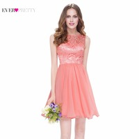 Cocktail Dress Ever Pretty EP05491PE Peach Elegant High Neck Sleeveless Short Sexy V Neck Back Cocktail
