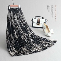 INNASOFAN Women's autumn winter pleated skirt of high waist Euro American fashionable long skirt with irregular Abstract picture