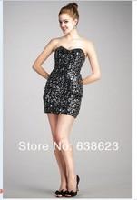 DAQ701 Kostenloser Versand Herzförmiger ausschnitt Pailletten Korsett Trägerlosen Cocktail Kleid für Mädchen