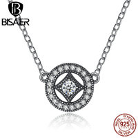 VOROCO Authentic Stunning 925 Sterling Silver Vintage Dazzling Allure With AAA Zircon Necklaces Pendants Jewelry PSN014