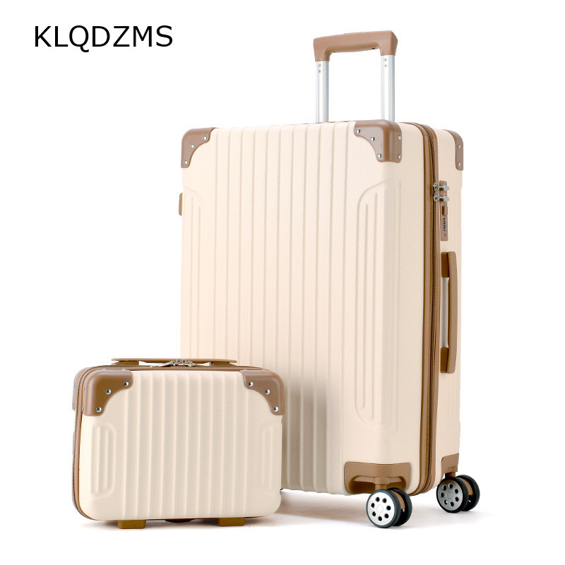 KLQDZMS 20/22/24/26INCh Women Rolling Luggage Sets with Handbag Women Vintager Trolley Travel Suitcase Cosmetic Bag Wheel