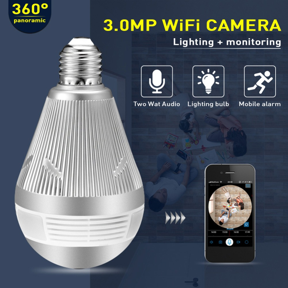 все цены на Hiseeu P11 Light Bulb Wireless WIFI 960P/3MP IP Camera 360 Degree Panoramic FishEye CCTV VR Webcam Home Security Video Recorder