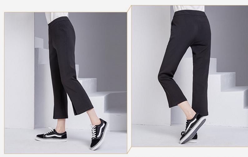 bootyjeans spring 2018 new European high-end women's slim black all-match split ankle length pants casual bottom pants 44