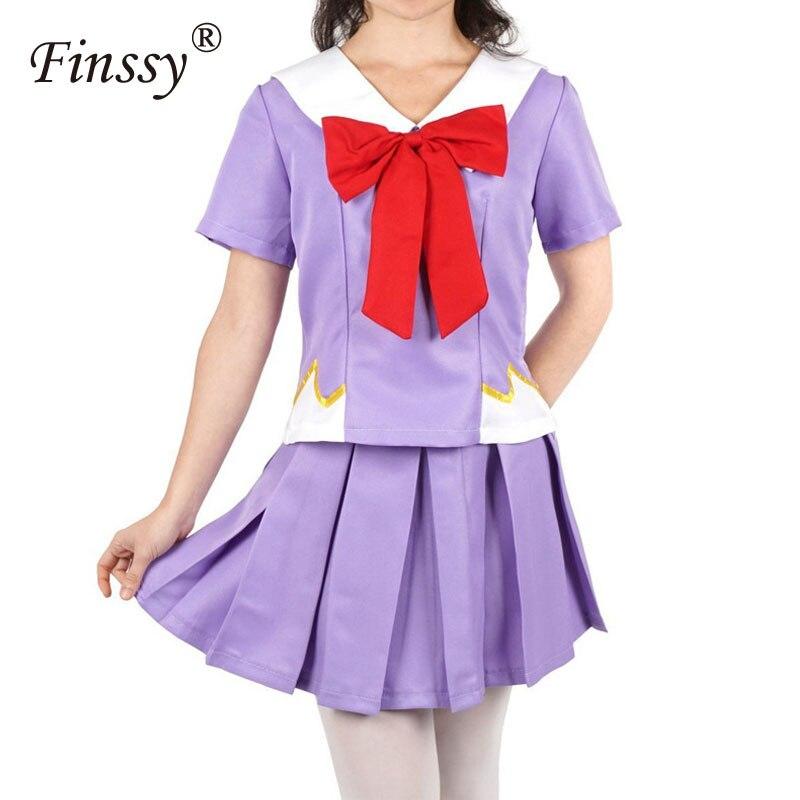 Anime Mirai Nikki Gasai Yuno Lolita Marinaio Costume Cosplay Loli Arco Gonna Corta Lunghezza Della Parrucca 80 Centimetri Evidente Effetto