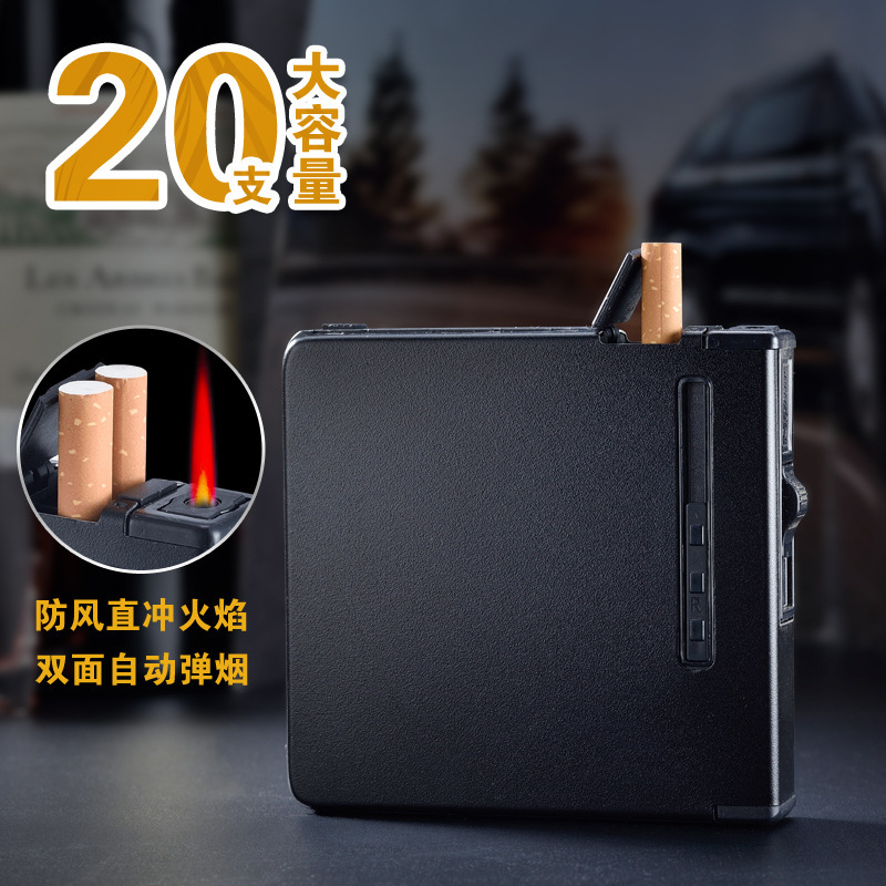 Alloy Automatic Cigarette Case Lighter 20 Branch Smoking Box Ultrathin One Portable Originality Windbreak Cigarette Case
