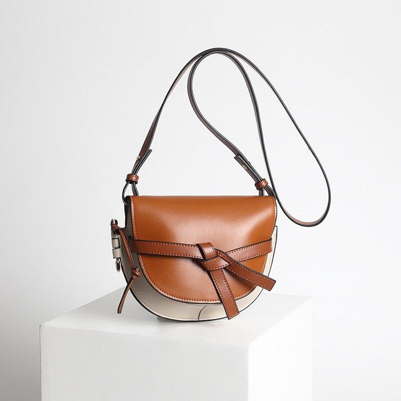 Genuine Leather Ladies Hand Bag for women 2018 Shoulder Luxury Handbags Handbag Designer Saddle Bag Famous Brand Women Messenger