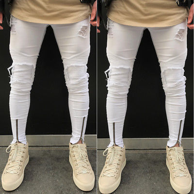 Men Stylish Ripped Scratched Jeans Pants Biker Skinny Slim Straight Denim Pencil Long Trousers Leggings Pantalon S-3XL White