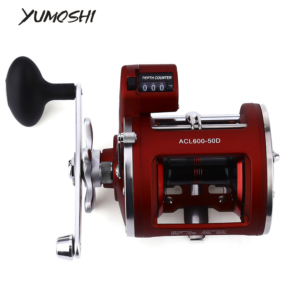 YUMOSHI Fishing-Reel Multiplier 12-Ball-Bearings Electric-Depth High-Speed Counting Trolling