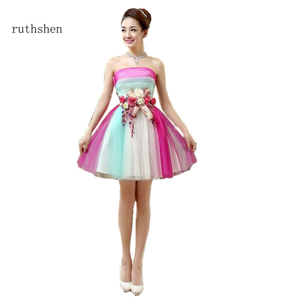 ruthshen Colorful A Line Short Above Length   Cocktail     Dresses   Strapless Appliques Party Vestidos Coctel For Special Occasion 2018