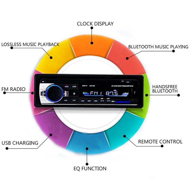 Автокөлік радиосы 12V Bluetooth V2.0 JSD520 - Автомобиль электроникасы - фото 3
