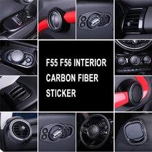 Carbon faser muster Innen Refit Rad Lenkung Dekorative Air Outlet Rahmen Aufkleber Komplette set für Mini Cooper Eine F55 F56