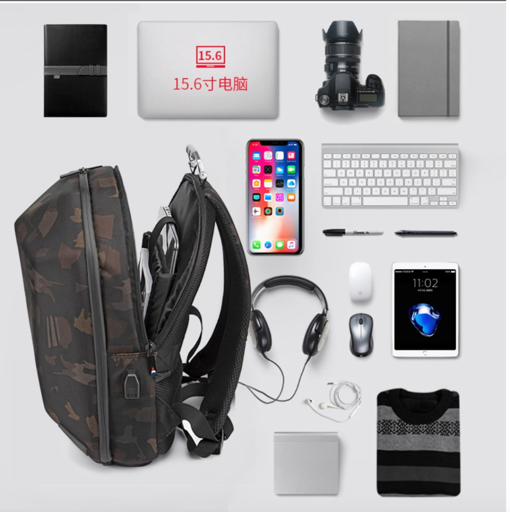 Geek Backpack USB Charging Bluetooth Music Bags camo 5