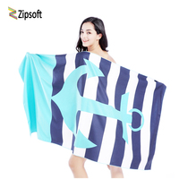 Beach   towel   Microfiber Swimming   towels   Traveling Quick dry Sports Bath Camping Outdoor Zipsoft Brand Printed Blue Christmas gift
