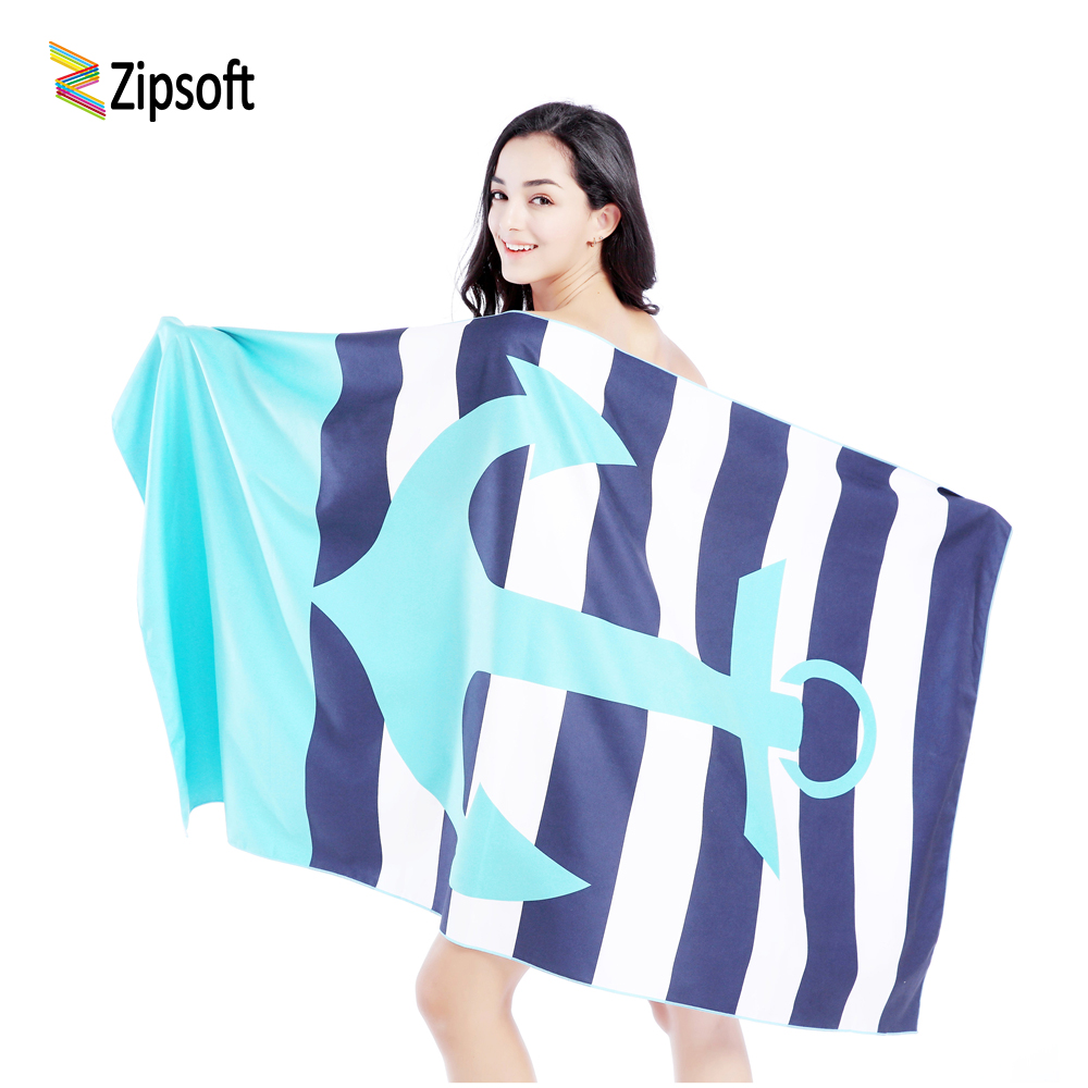 Zipsoft Beach towel Microfiber Larger size Traveling Quick dry Sports Swimming Bath Camping Outdoor Brand PrintedBlue Anchor2018