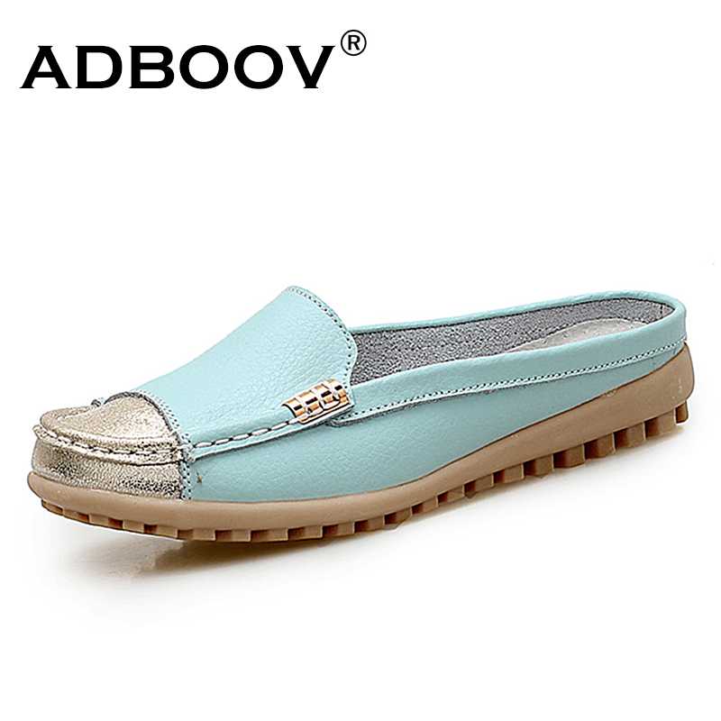ADBOOV New 2018 Mules Shoes Women Fashion Slides Cow Leather Slippers Flats Slip On Loafers Ladies Shoes Casual Summer Shoes цена