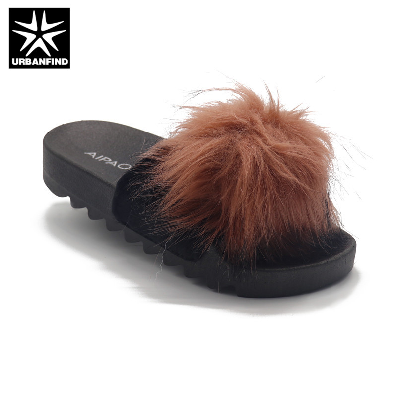 Artificial Fox Hair Fashion Women Slippers Luxury Slides Womens Shoes Slip-on Sandals Size 36-41