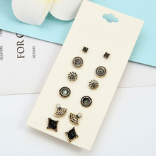 Value 6 Pairs Set Round Square Ball Alloy Crystal Stud Earrings