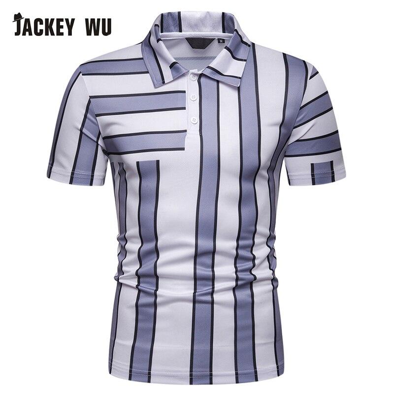 JACKEYWU Striped   Polo   Shirt Men 2019 Summer Fashion Contrast Half Sleeve Cotton Breathable Camisa   Polo   Slim Casual Men's   Polos