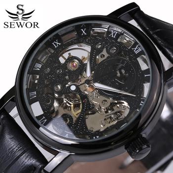 Nowy projekt zegarki stalowe Hollow automatyczne mechaniczne zegarki męskie zegarki szkieletowe wodoodporne paski z prawdziwej skóry luksusowej marki tanie i dobre opinie Mechaniczne Zegarki Na Rękę SEWOR 087 3Bar ROUND 11mm Skóra Odporne na wodę 40mm Moda casual Klamra STAINLESS STEEL