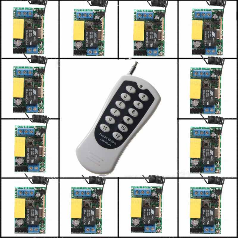 220V 10A 315MHZ-433MHZ RF Wireless remote control system 20-200M 1 (controller)transmitter +12 Mini receiver(switch) wireless service call bell system popular in restaurant ce passed 433 92mhz full equipment watch pager 1 watch 7 call button
