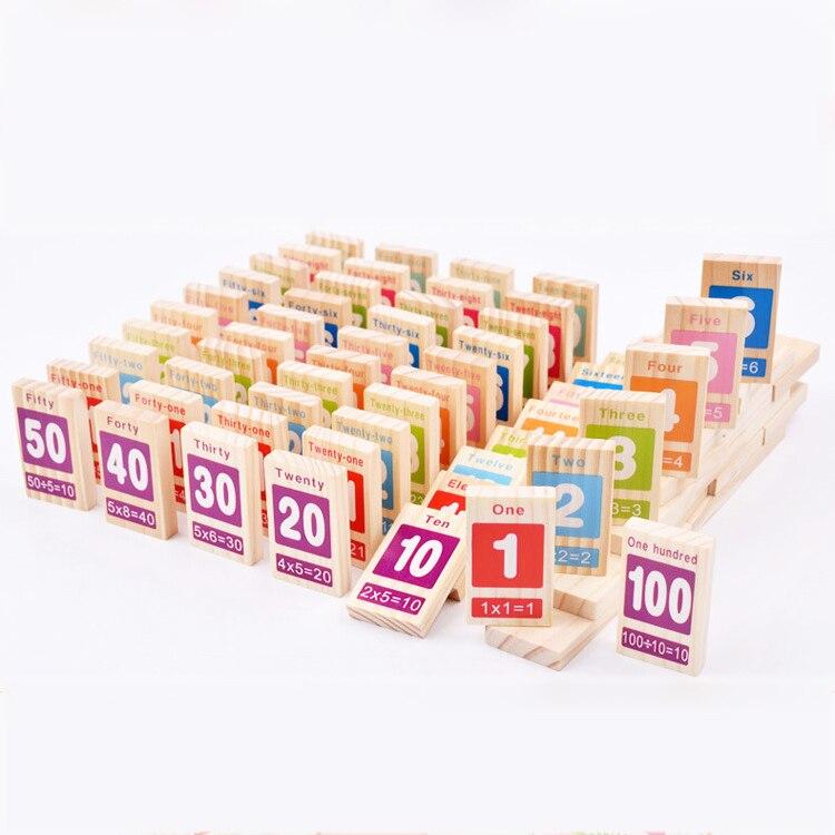 Chanycore Bébé D'apprentissage Éducatifs En Bois Jouets Jenga Blocs Domino 100 pcs Numérique Forme Géométrique Montessori Enfant Cadeau 4176