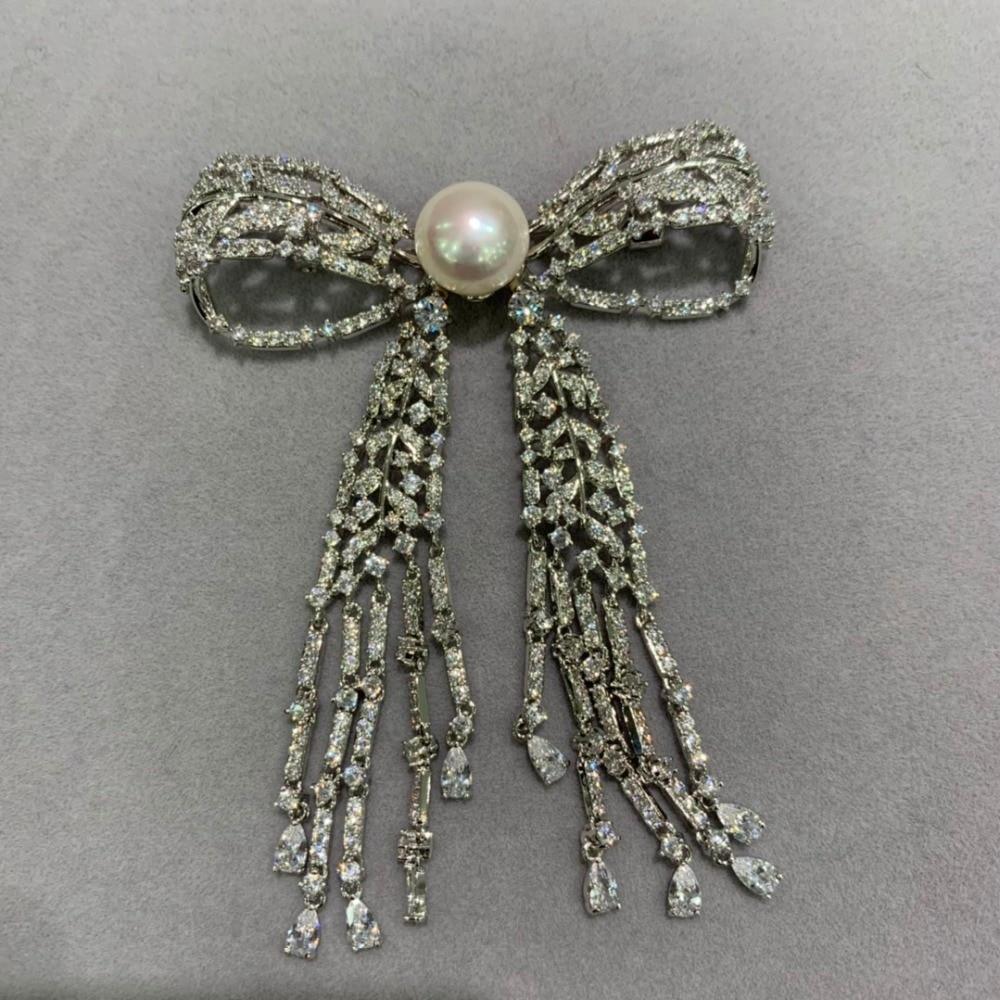 11-12 MM naturel eau douce perle broche cuivre avec zircon cubique bowknot broche broches glands classique mode femmes bijoux