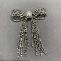 11 12MM natural fresh water pearl brooch copper with cubic zircon bowknot brooch pins tassels classic fashion women jewelry