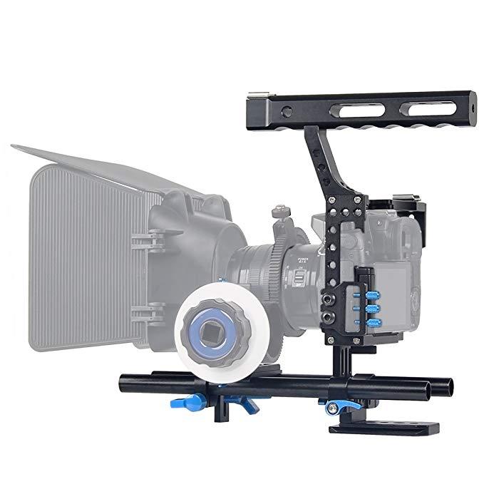 Fomito poignée en aluminium poignée DSLR vidéo stabilisateur Film faisant Cage de caméra avec 15mm système de tige plate-forme pour Sony A7 série caméra
