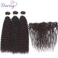 Dorisy Kinky Curly Malaysian Remy Human Hair Bundles With Frontal Natural Color 3 Bundles Hair Weave