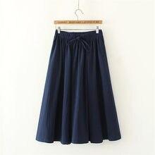 Verano 2018 primavera moda falda con fajas Alta Calidad Algodón Lino sólido  Vintage falda para mujer negro largo tamaño grande d2dc1cebc1d3
