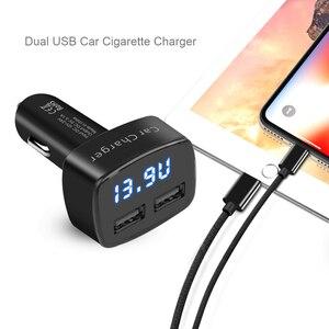 Image 4 - Dual USB Car Charger 4 in 1 เครื่องวัดอุณหภูมิดิจิตอลจอแสดงผลการชาร์จบุหรี่ไฟแช็ก Car Charger Digital Display สำหรับโทรศัพท์มือถือ