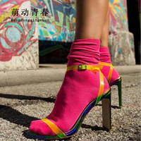 8d34d129 2019 New Summer Women High Heel Sandals Sexy Clear PVC Square Toe Shoes  Pumps Buckle Strap
