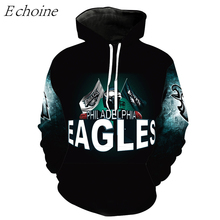 Echoine Eagles American Football Hoodies Men High Quality Long Sleeve Pockets Outdoor Sports Uniforms Excercise Sweaters Tops