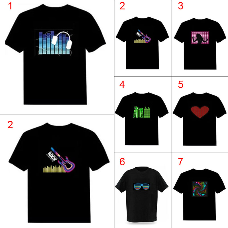 Men Sound Activated LED   T  -  shirt   Light Up Down Flashing   T  -  shirts   for Rock Disco Party DJ Tops Tee JL