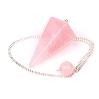 Natural Rose Quartz Crystal Pendulum Bead 12 Facet Reiki Charged Energy Chakra Healing Crystals PP008