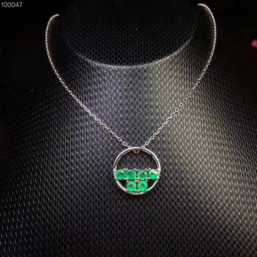 Natural green emerald gem Necklace Natural gemstone Pendant Necklace S925 sliver delicate small round Girl party gift Jewelry цена 2017