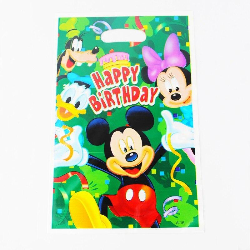 Mickey Mouse Kid Boy Girl Baby Happy Birthday Party Decoration Kits Supplies Favors Loot Bag Gift Bag 12pcs/lot