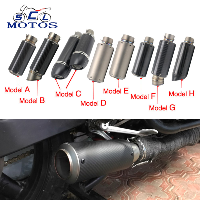 Sclmotos - Motorcycle Muffler Pipe SC Moto Exhaust GP Escape Moto Dirt Bike,Street Bike,Scooter ATV Quad CB400 GSXR MT07 Racing modified akrapovic exhaust escape moto silencer 100cc 125cc 150cc gy6 scooter motorcycle cbr jog rsz dirt pit bike accessories