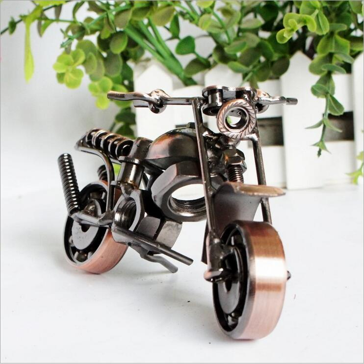 5inch Fashion Metal Motorcycle Model Retro Handmade Miniature Motorbike Home Decoration Iron Crafts Kid Toy in Figurines Miniatures from Home Garden