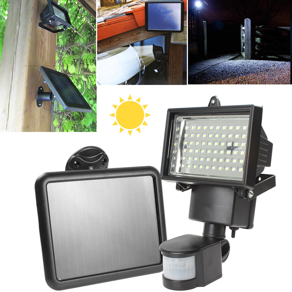 LED Solar Power Light Waterproof Super Bright 60 LED Outdoor Floodlight with PIR Motion Sensor Security Solar Lamp super bright 100 led natural white outdoor floodlight pir motion sensor led solar powered light lamp waterproof solar wall lamp