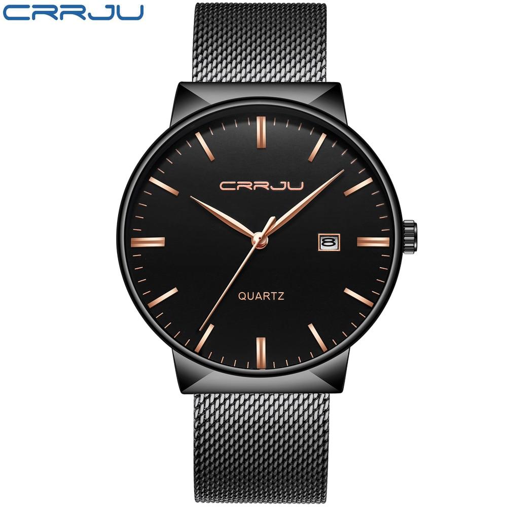 Luksusowa marka Black CRRJU Full Steel Quartz Watch Men Casual - Męskie zegarki - Zdjęcie 2