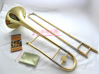 High Quality Bb Tune Tenor Trombone B Flat Brass Gold plated Professional Performance Musical Instruments Sax With Case