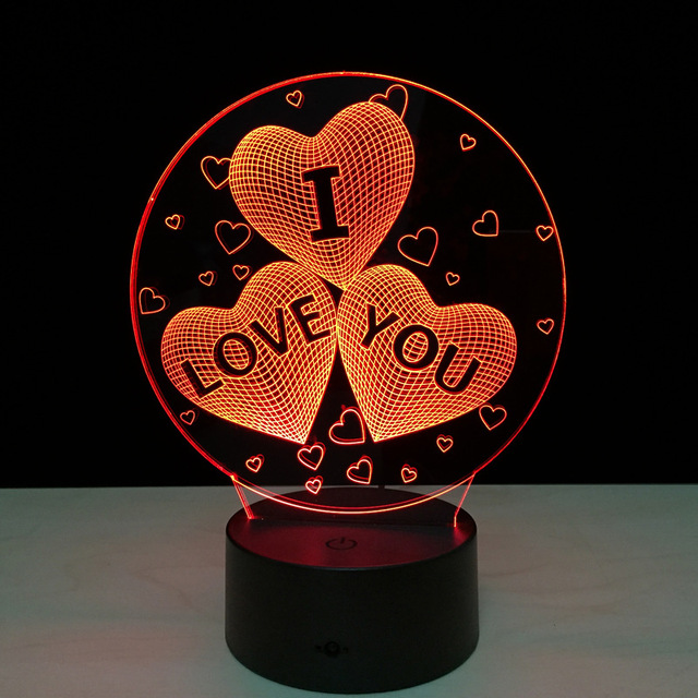 1pcs Heart I love you round frame Touch screen 3D illusion Led flash light toy.