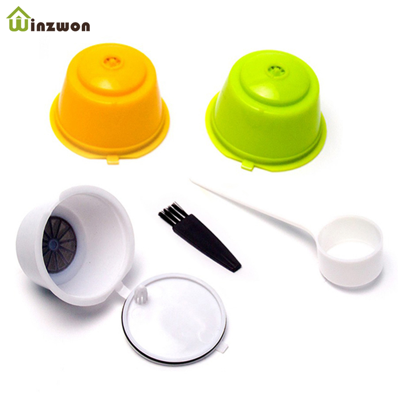 3Pcs Eco-friendly Reusable Coffee Capsule Set Scoop Brush Food Grade Plastic PP Coffee Filter Baskets Soft Capsules Taste Sweet
