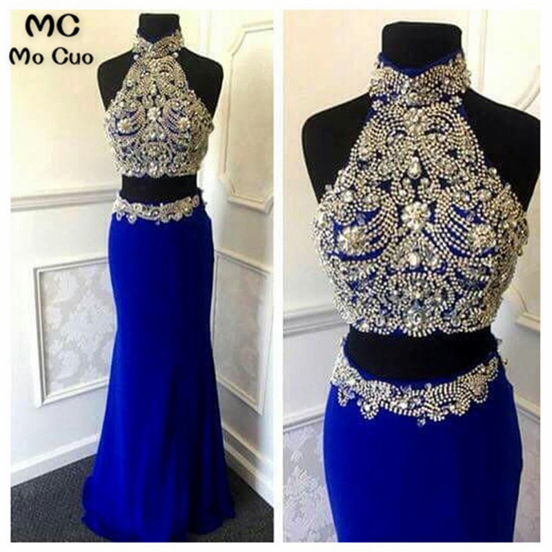 Promotion Two Pieces Gown 2018 New Mermaid Long   Prom     Dresses   Halter Off shoulder Beaded Sexy Royer Blue   Prom     Dress   Floor Length